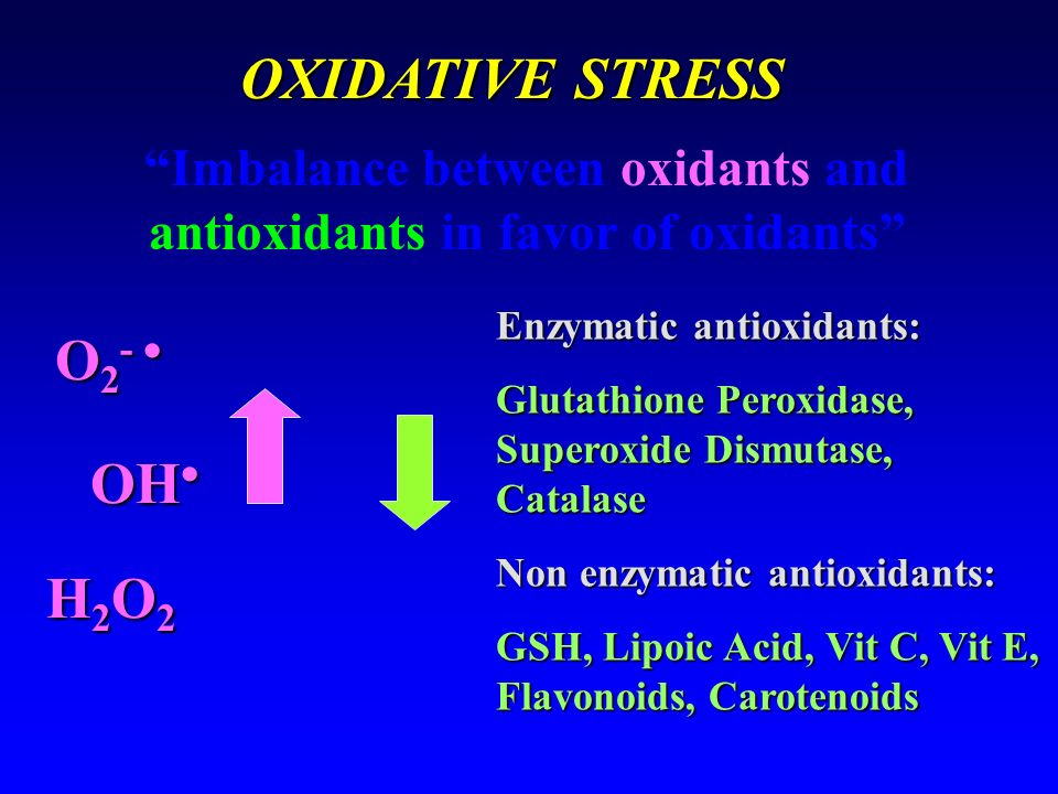 Imbalance between oxidants and antioxidants in favor of oxidants