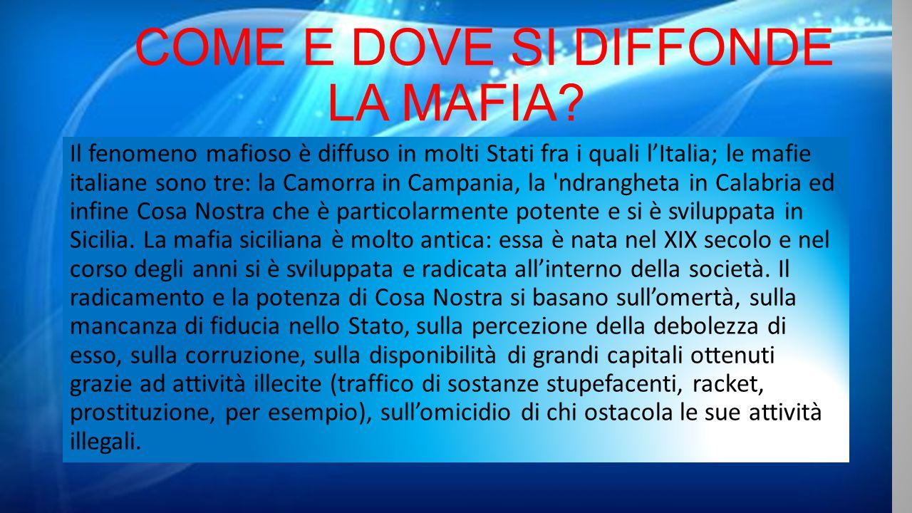 Cos 39 la mafia la mafia una associazione clandestina for Cosa mettere sulla madia
