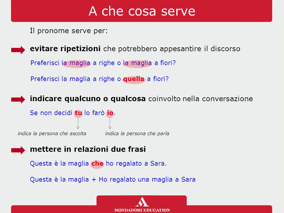A che cosa serve Il pronome serve per: