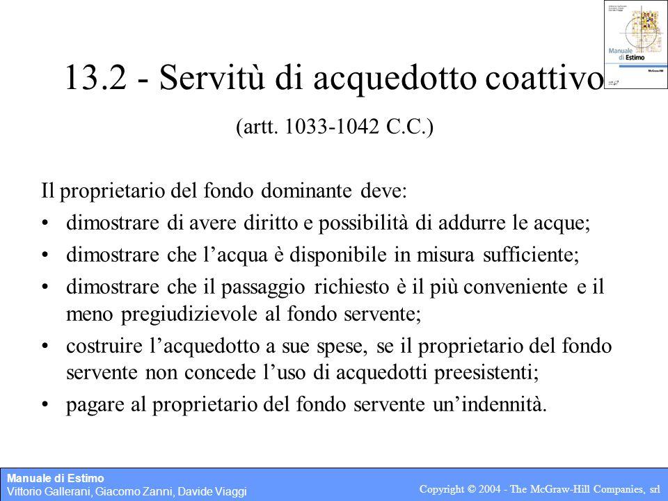 13.2   Servitù Di Acquedotto Coattivo