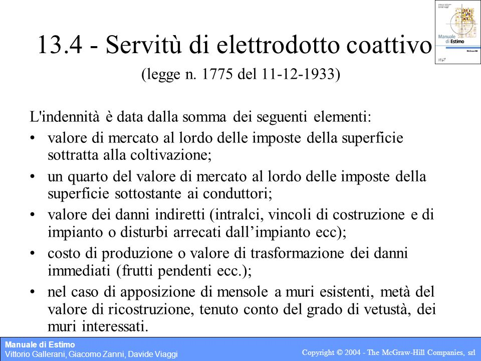 13.4   Servitù Di Elettrodotto Coattivo