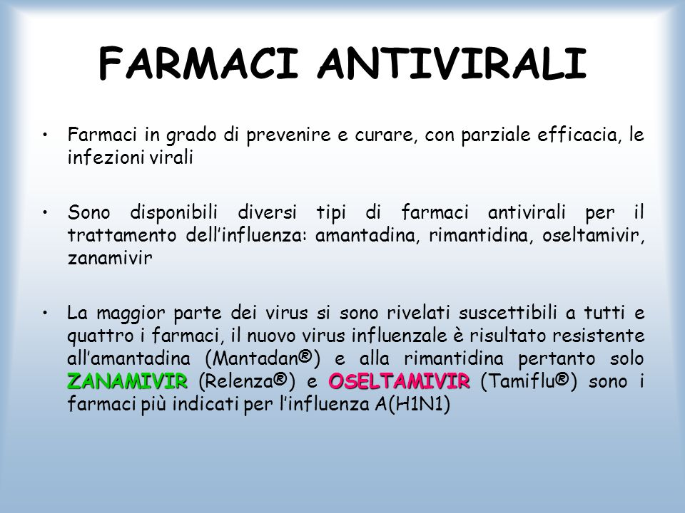 farmaci antivirali nomi commerciali