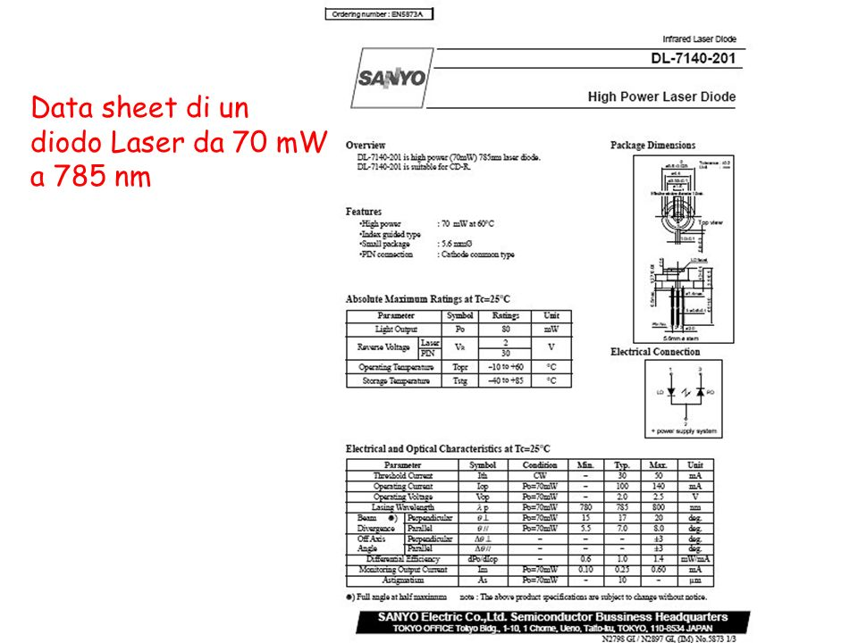 Data sheet di un diodo Laser da 70 mW a 785 nm