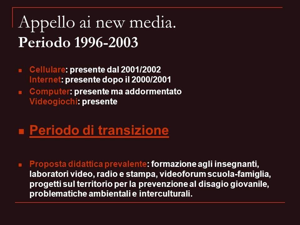 Appello ai new media. Periodo