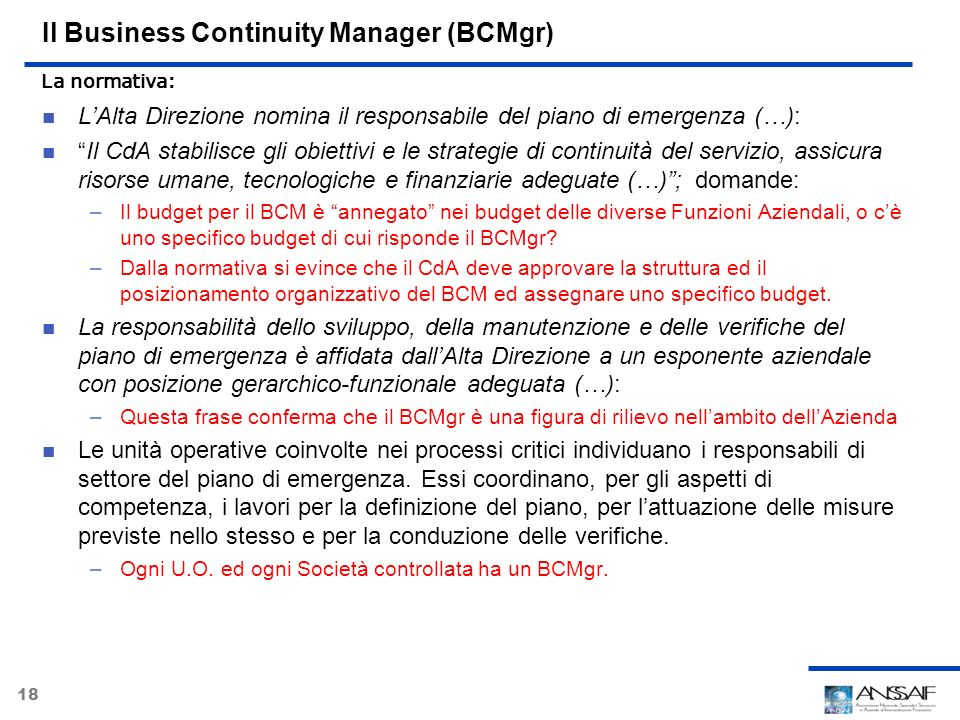 Il Business Continuity Manager (BCMgr)