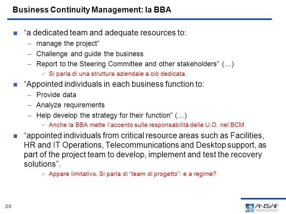 Business Continuity Management: la BBA