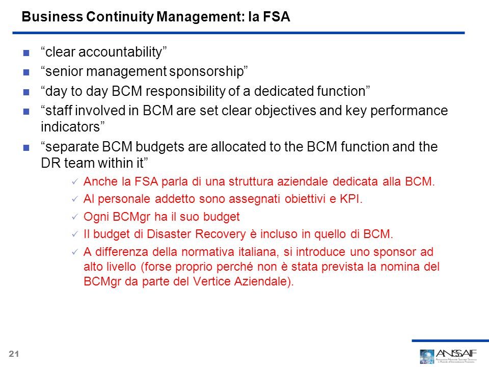 Business Continuity Management: la FSA