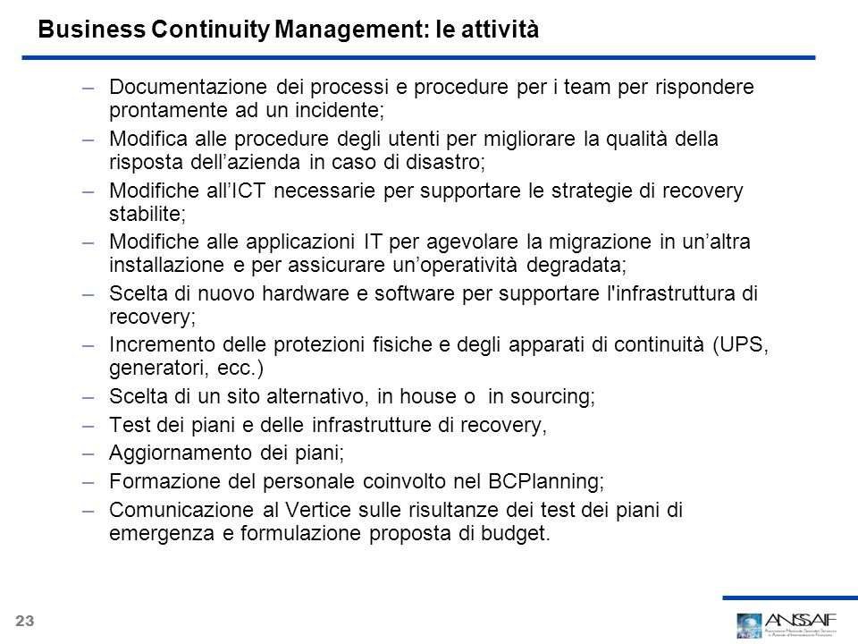 Business Continuity Management: le attività
