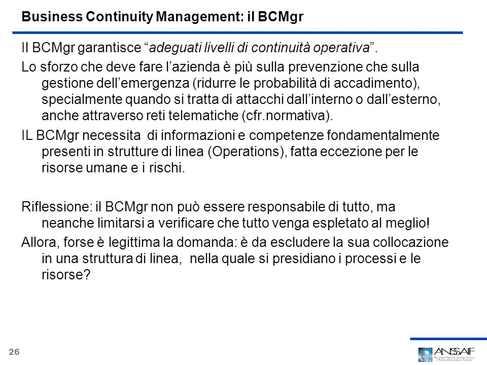 Business Continuity Management: il BCMgr