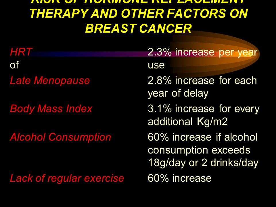 RISK OF HORMONE REPLACEMENT THERAPY AND OTHER FACTORS ON BREAST CANCER