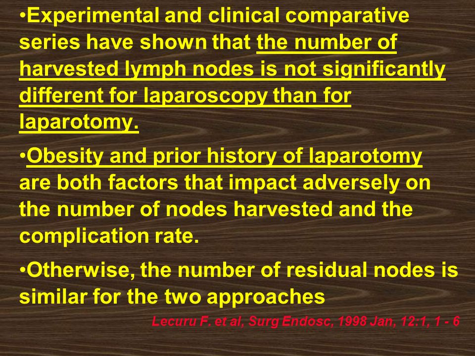 Experimental and clinical comparative series have shown that the number of harvested lymph nodes is not significantly different for laparoscopy than for laparotomy.