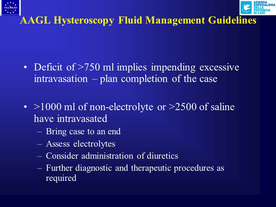 AAGL Hysteroscopy Fluid Management Guidelines