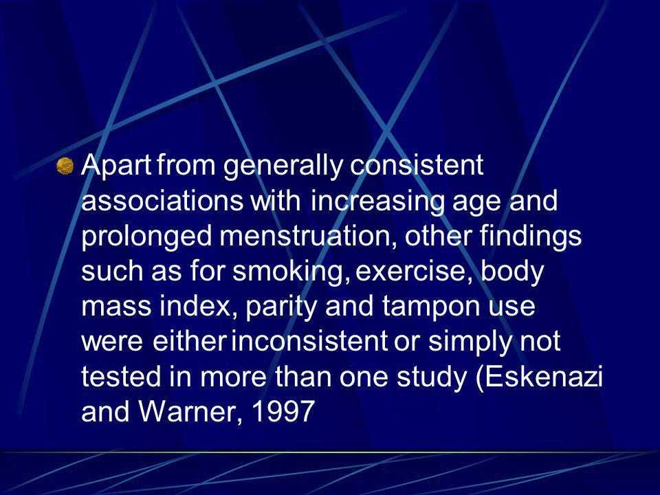 Apart from generally consistent associations with increasing age and prolonged menstruation, other findings such as for smoking, exercise, body mass index, parity and tampon use were either inconsistent or simply not tested in more than one study (Eskenazi and Warner, 1997