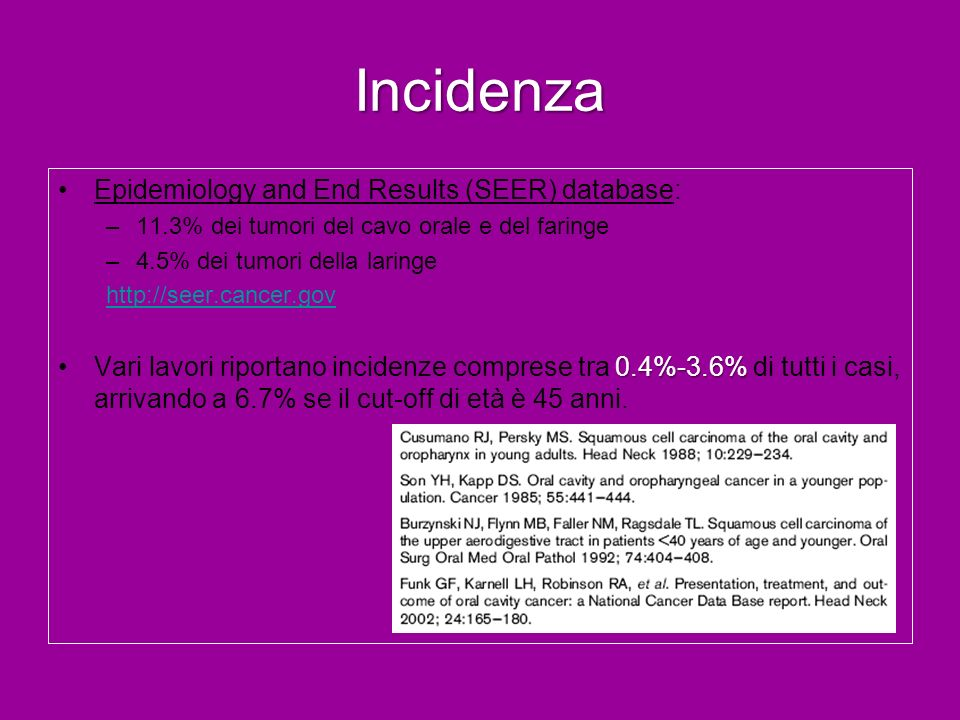 Incidenza Epidemiology and End Results (SEER) database: