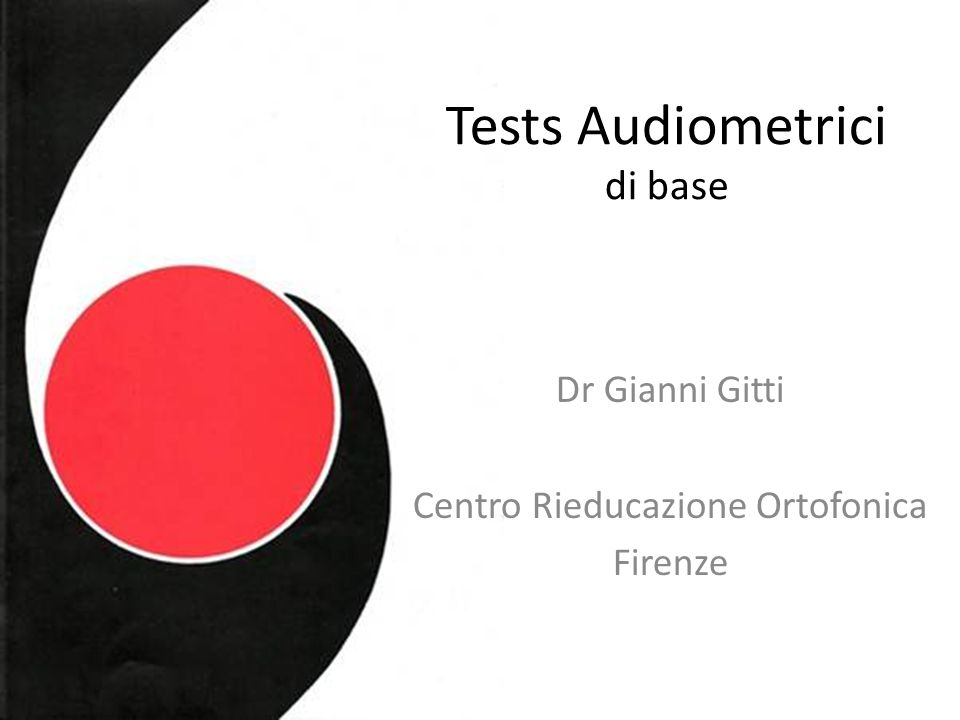 Tests Audiometrici di base