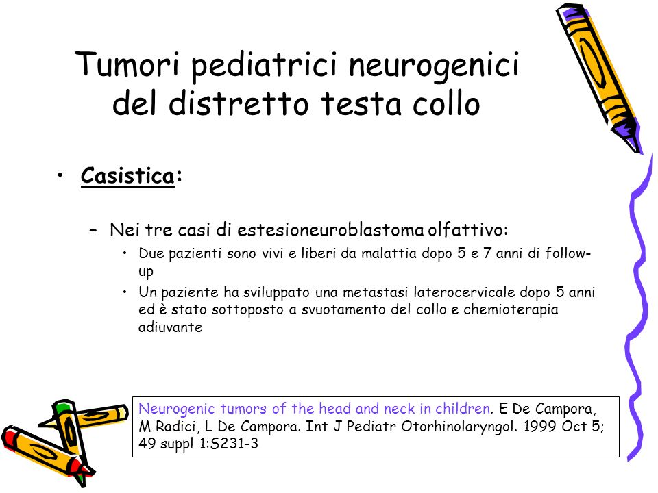 Tumori pediatrici neurogenici del distretto testa collo