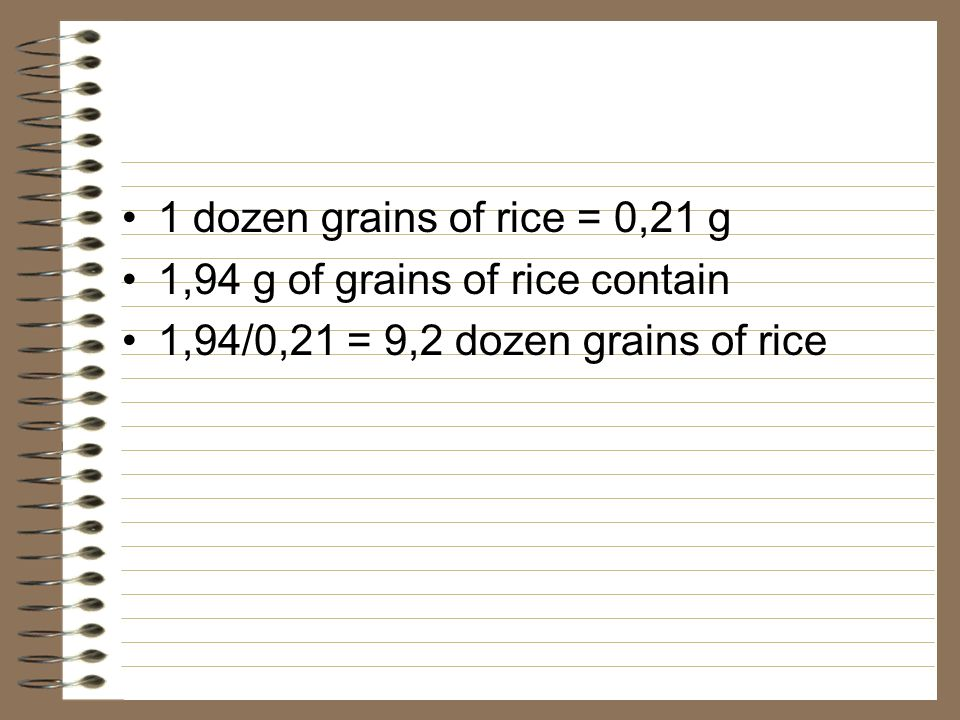 1 dozen grains of rice = 0,21 g 1,94 g of grains of rice contain.