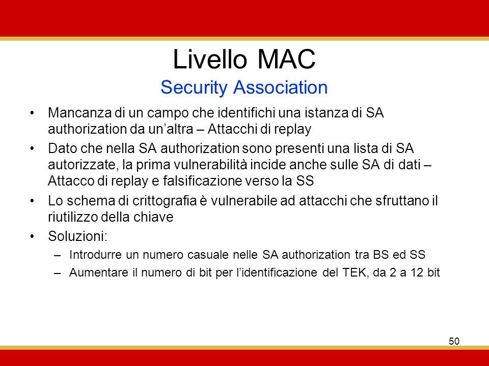 Livello MAC Security Association