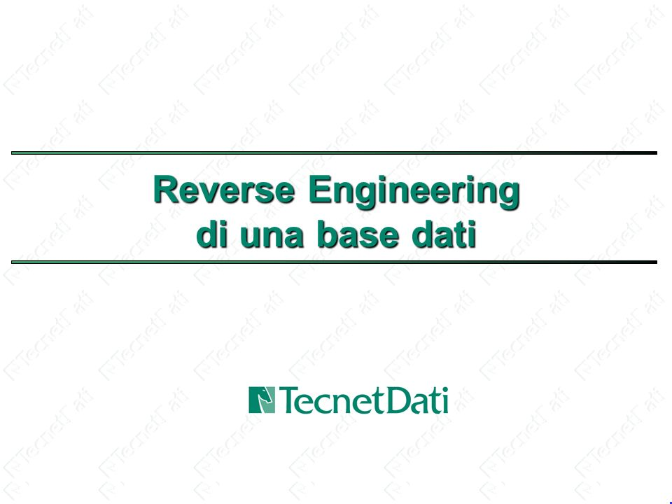 Reverse Engineering di una base dati
