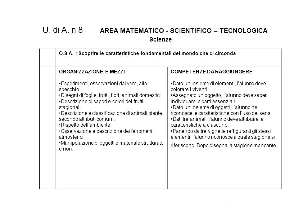 U. di A. n 8 AREA MATEMATICO - SCIENTIFICO – TECNOLOGICA
