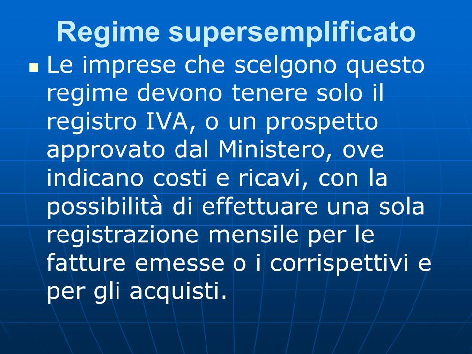 Regime supersemplificato