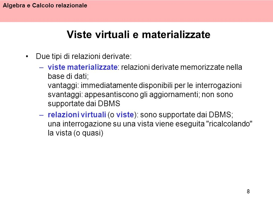 Viste virtuali e materializzate