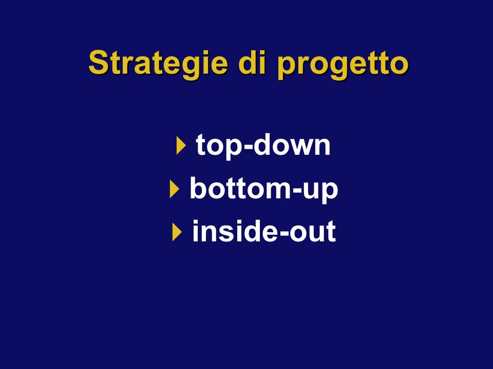 Strategie di progetto top-down bottom-up inside-out