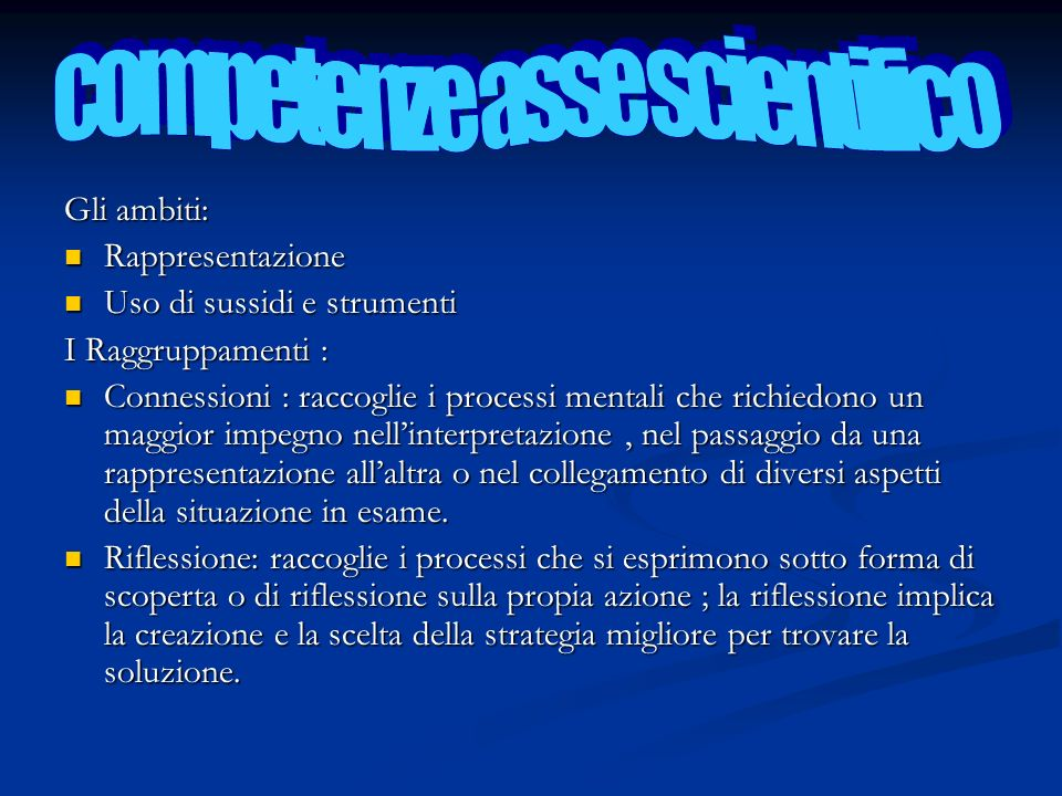 competenze asse scientifico
