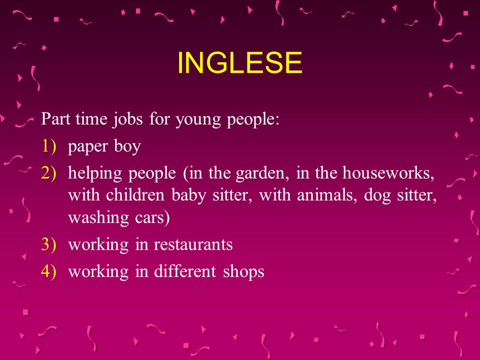 INGLESE Part time jobs for young people: paper boy