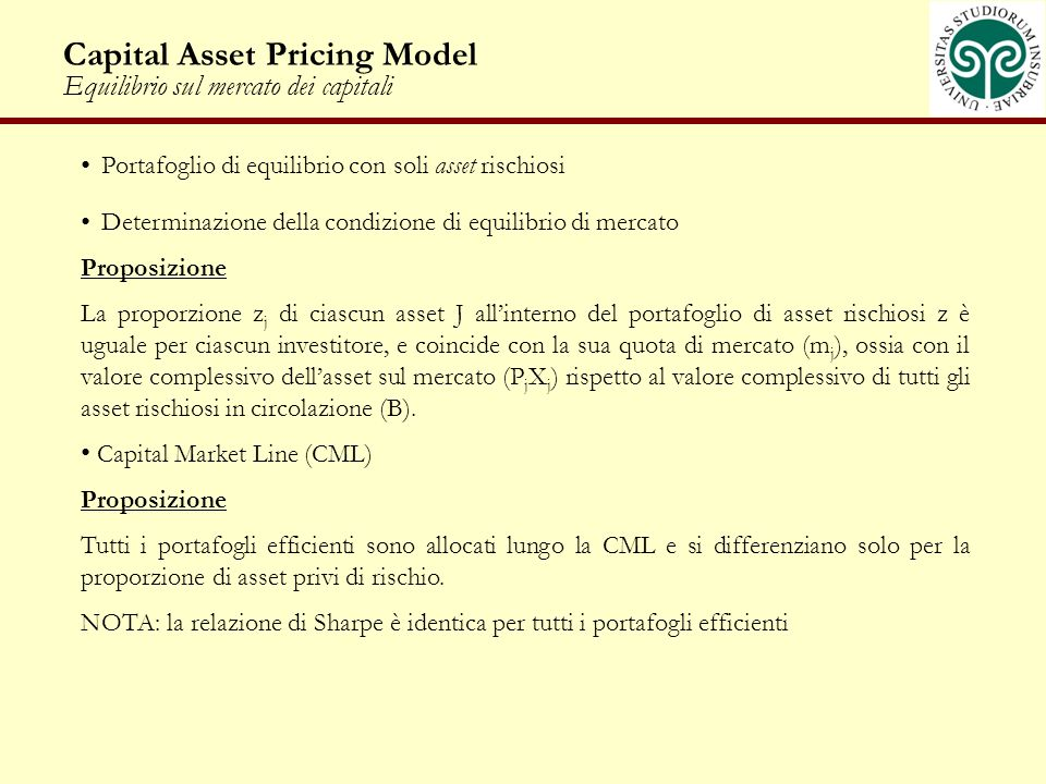 Capital Asset Pricing Model Equilibrio sul mercato dei capitali