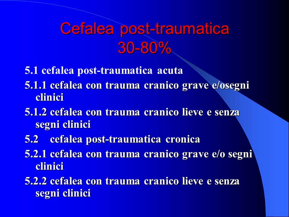 Cefalea post-traumatica 30-80%