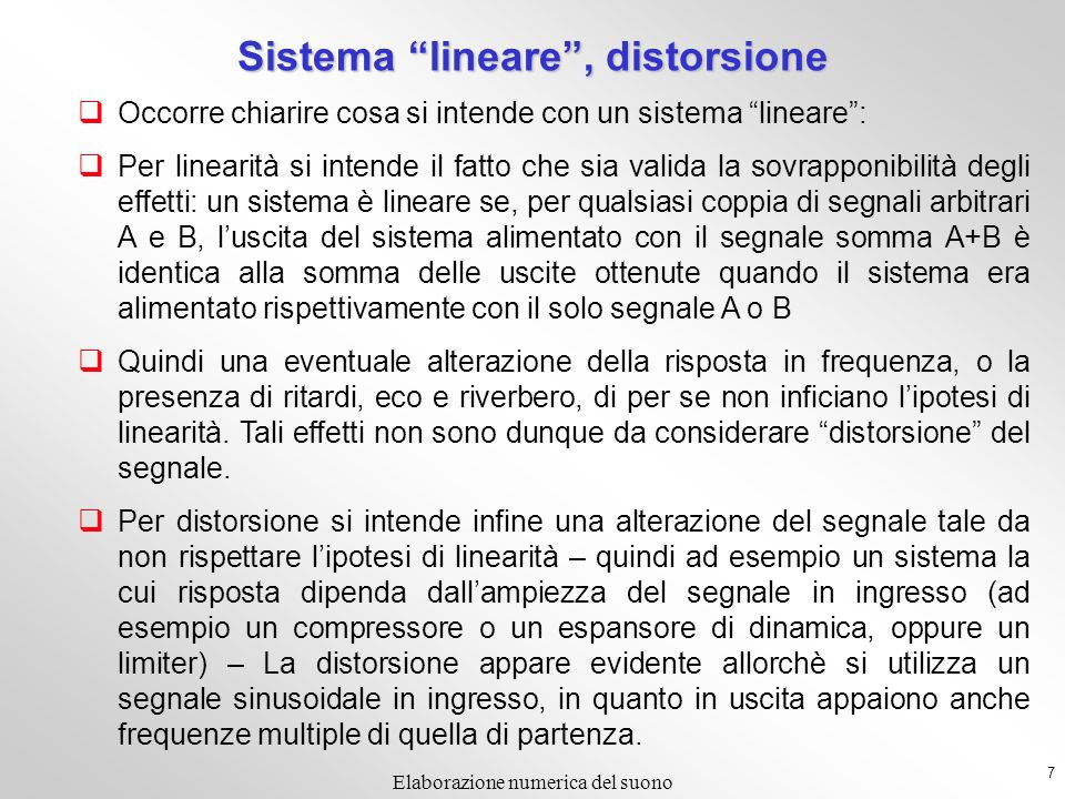Sistema lineare , distorsione