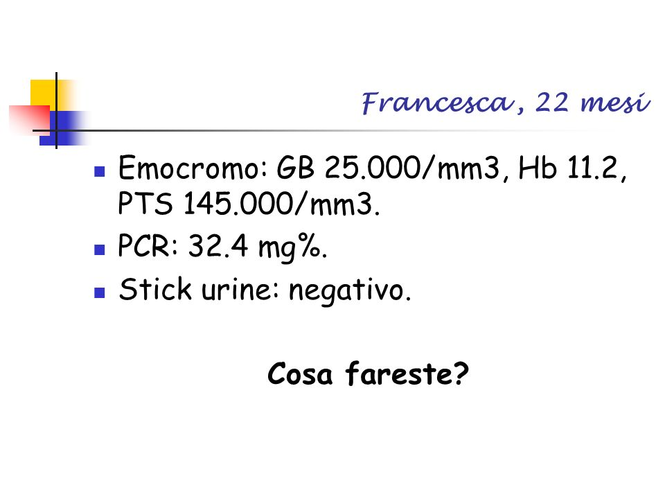 Emocromo: GB /mm3, Hb 11.2, PTS /mm3. PCR: 32.4 mg%.