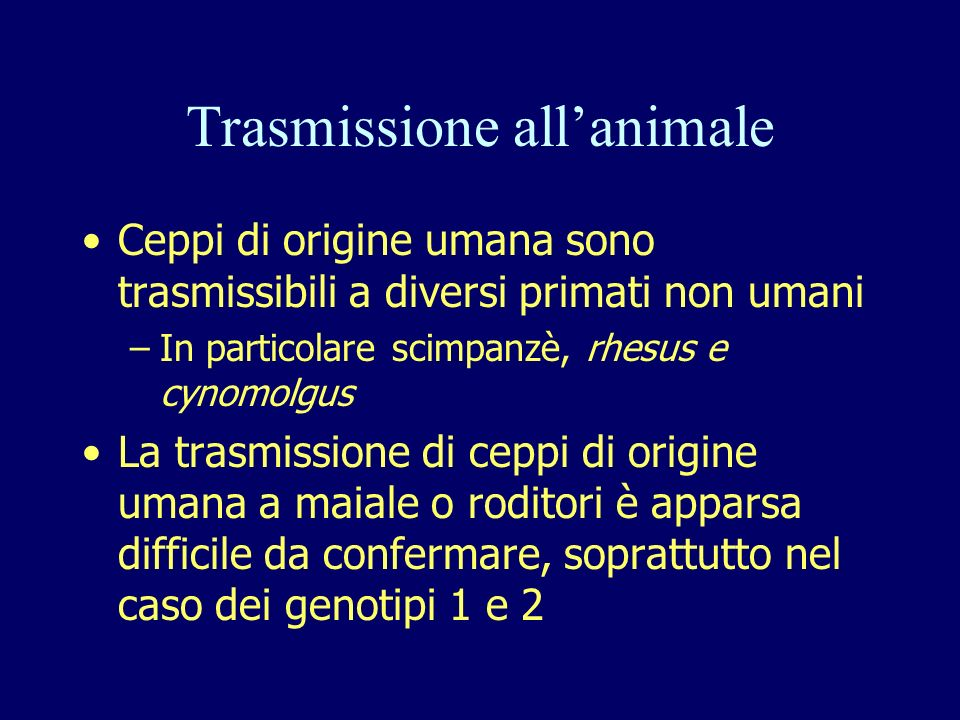 Trasmissione all'animale