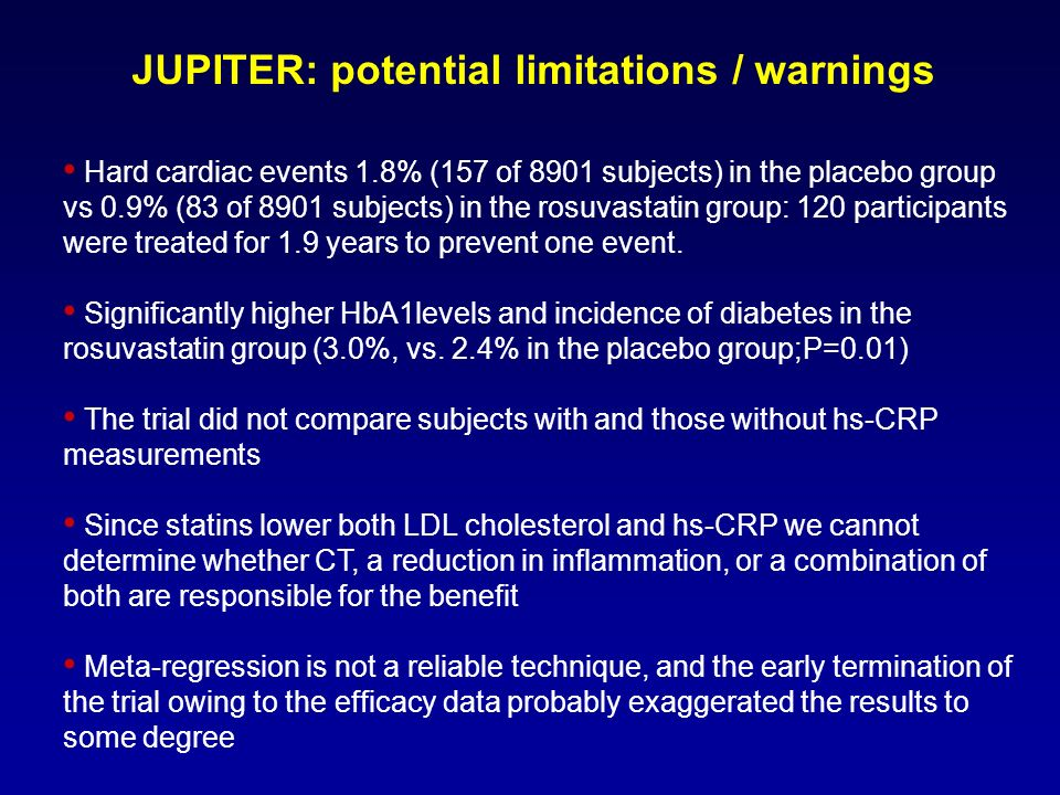 JUPITER: potential limitations / warnings