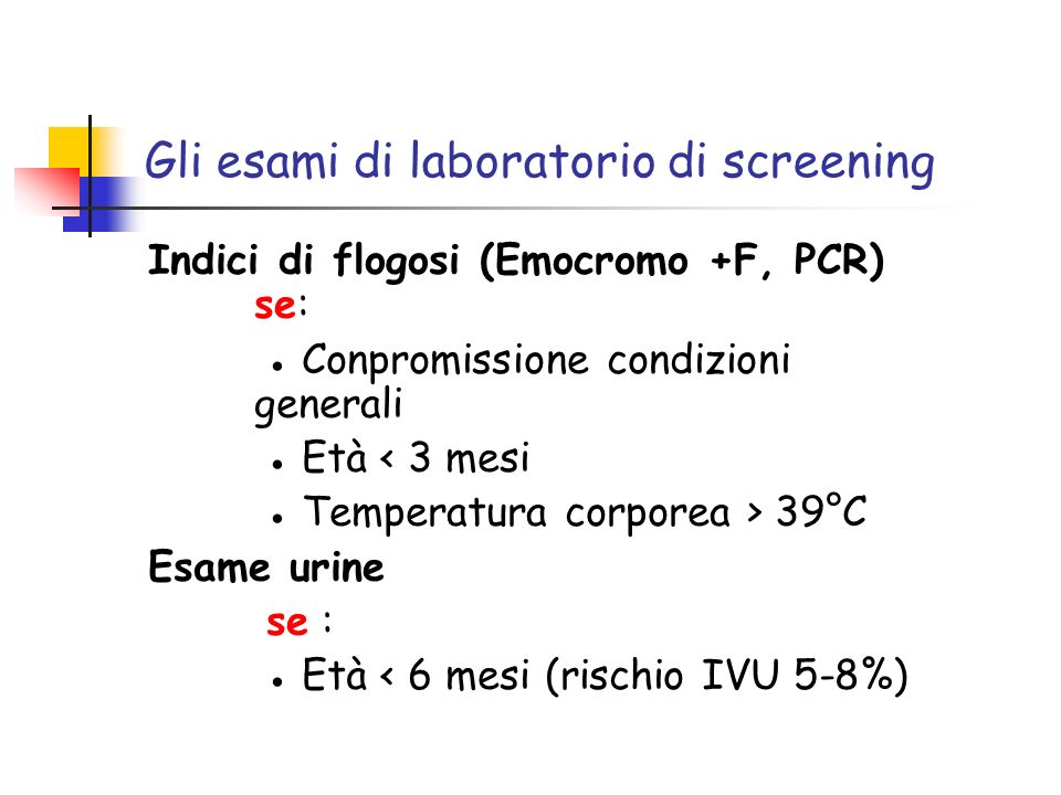 Gli esami di laboratorio di screening