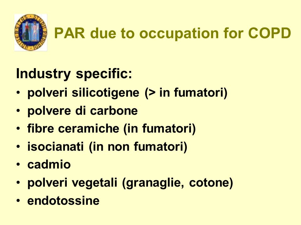 PAR due to occupation for COPD