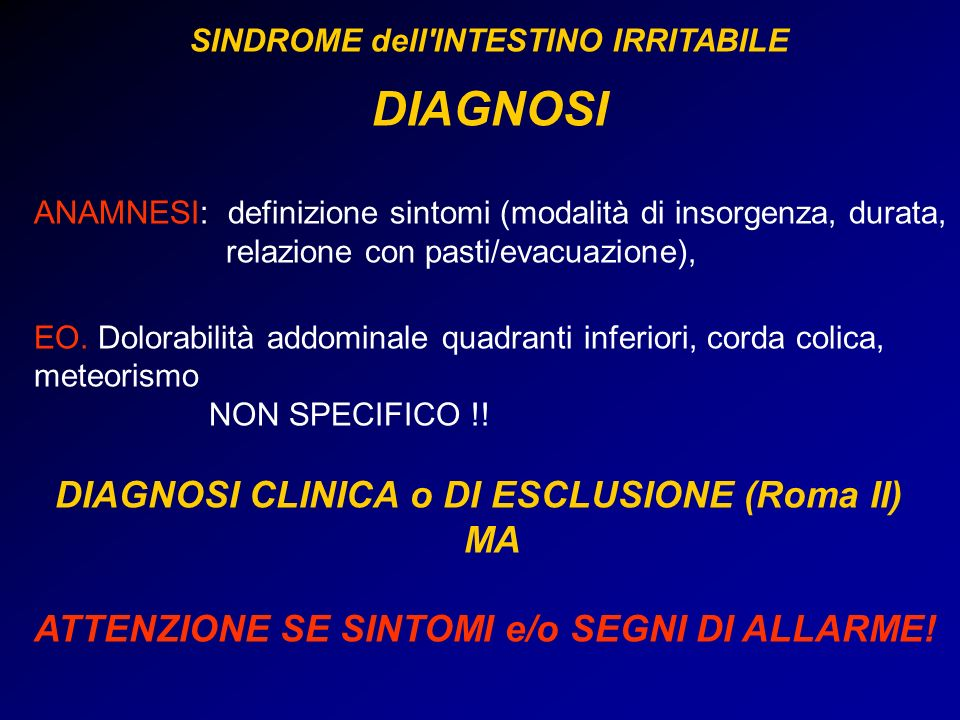 SINDROME dell INTESTINO IRRITABILE