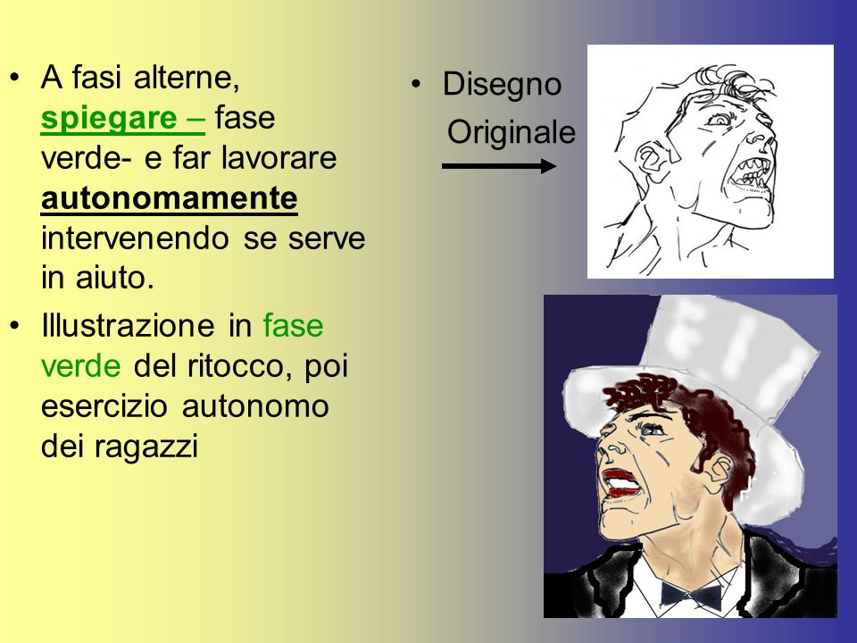 A fasi alterne, spiegare – fase verde- e far lavorare autonomamente intervenendo se serve in aiuto.