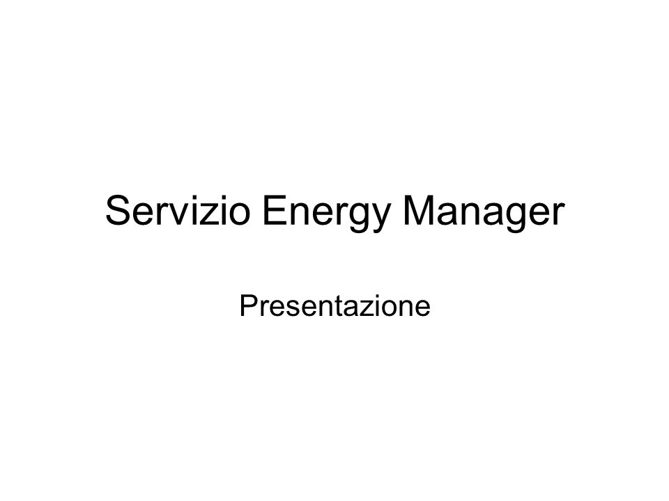 Servizio Energy Manager