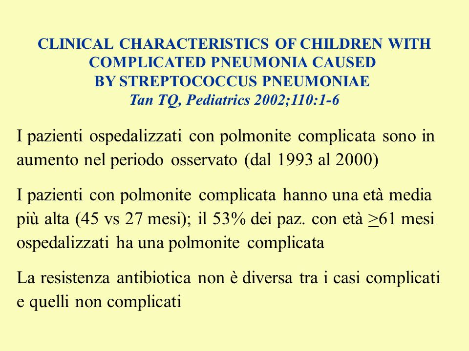CLINICAL CHARACTERISTICS OF CHILDREN WITH