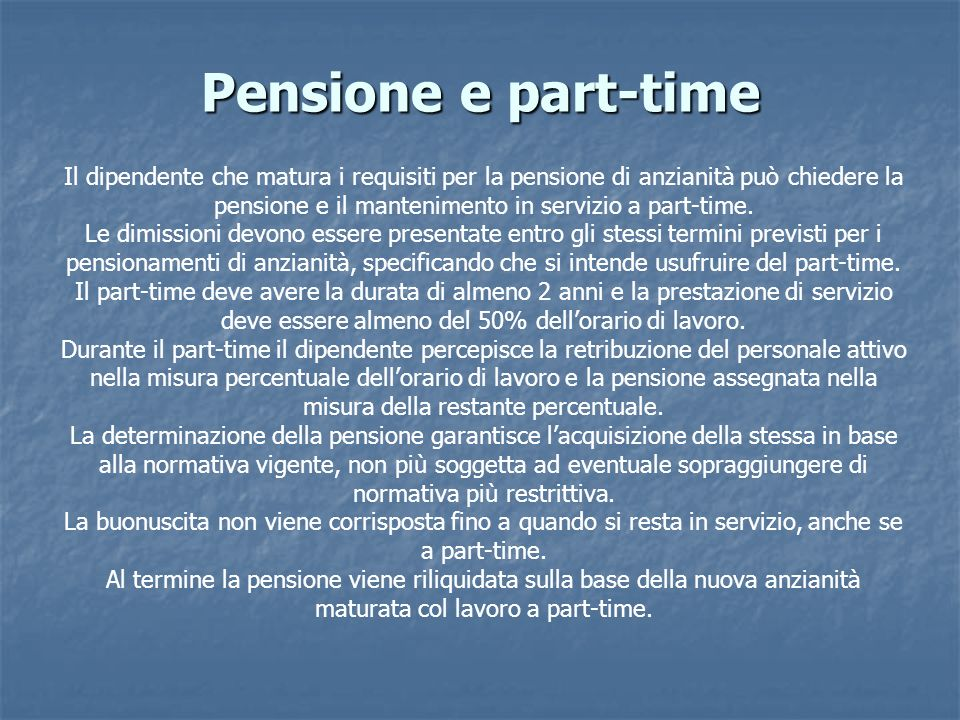 Pensione e part-time