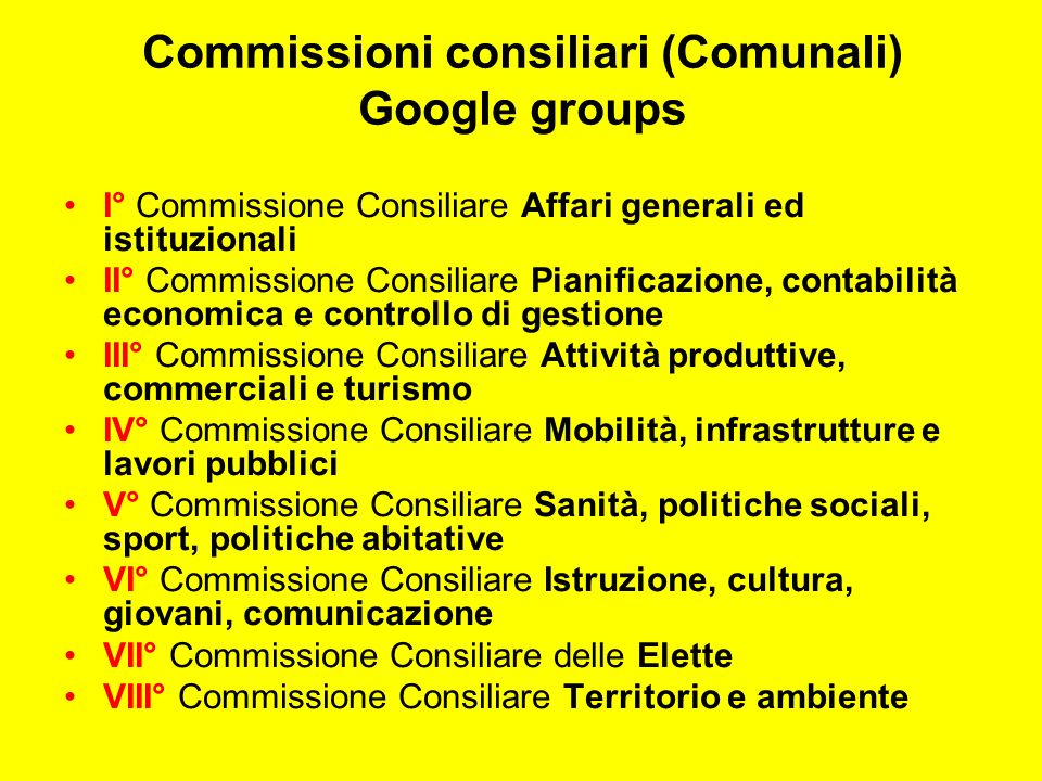 Commissioni consiliari (Comunali) Google groups