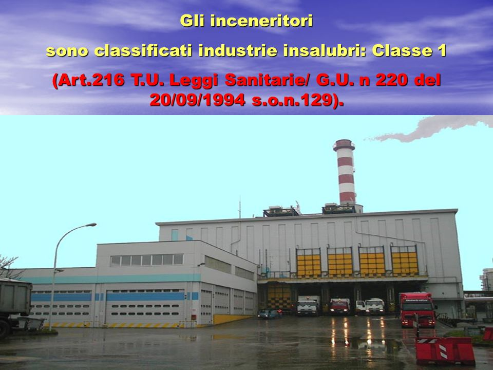 sono classificati industrie insalubri: Classe 1
