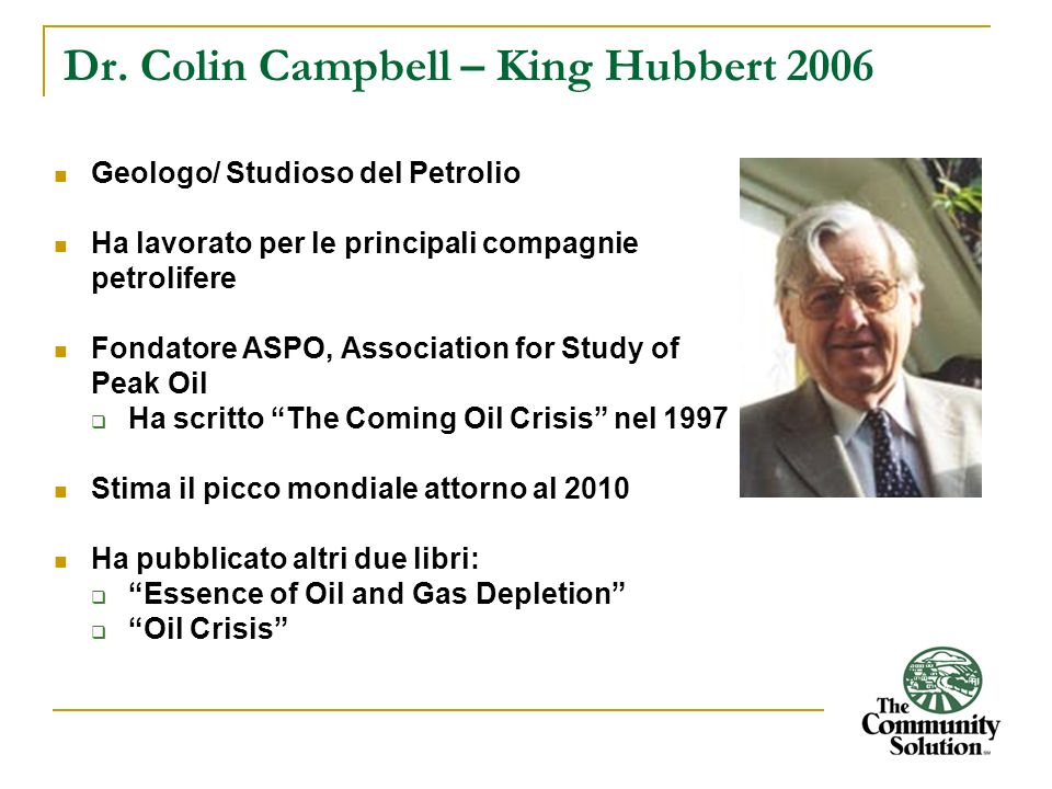 Dr. Colin Campbell – King Hubbert 2006