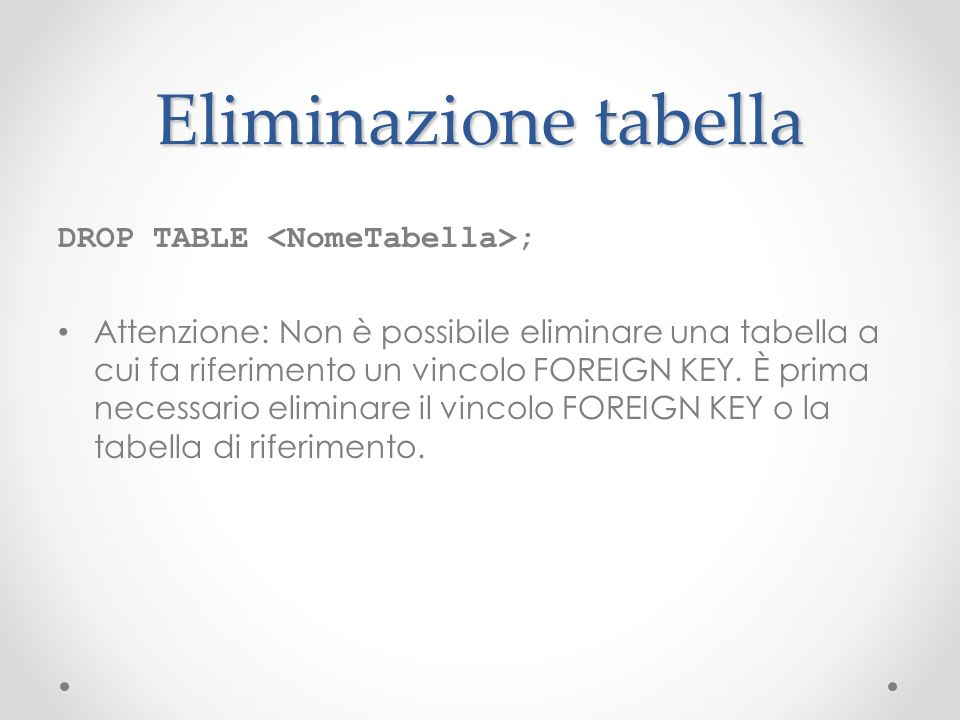 Eliminazione tabella DROP TABLE <NomeTabella>;