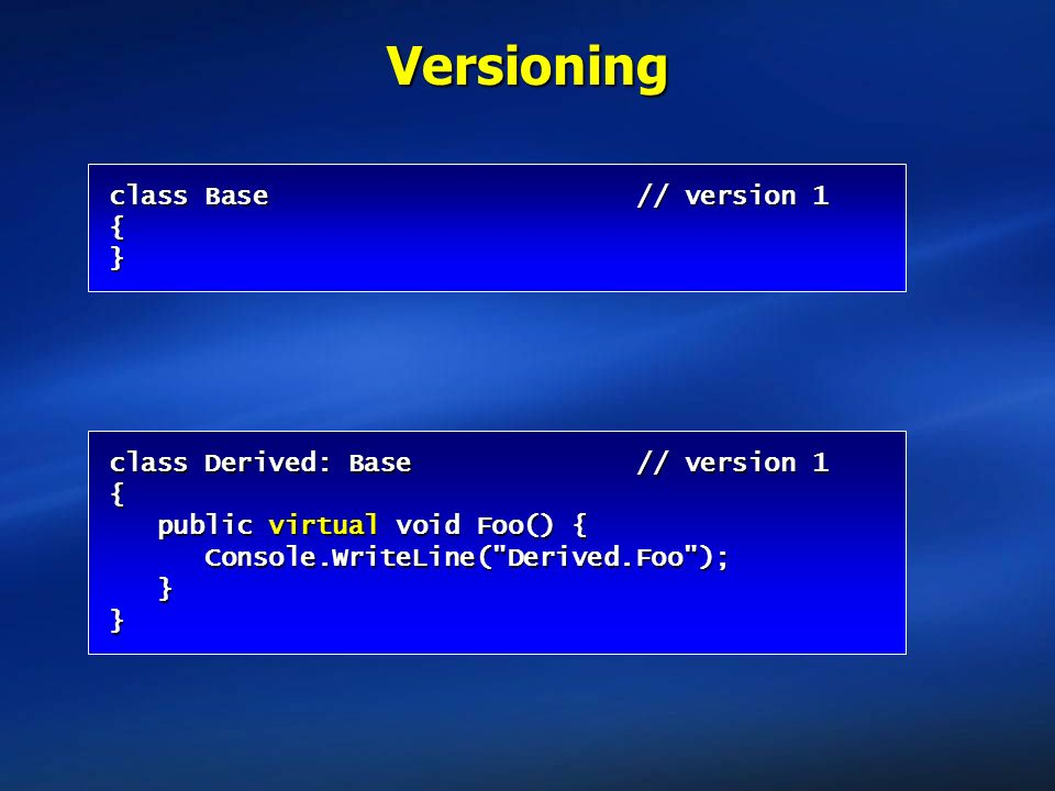 Versioning class Base // version 1 { }