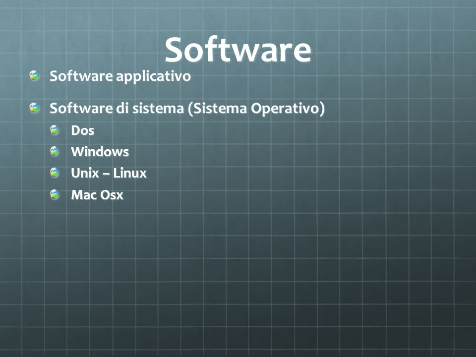 Software Software applicativo Software di sistema (Sistema Operativo)