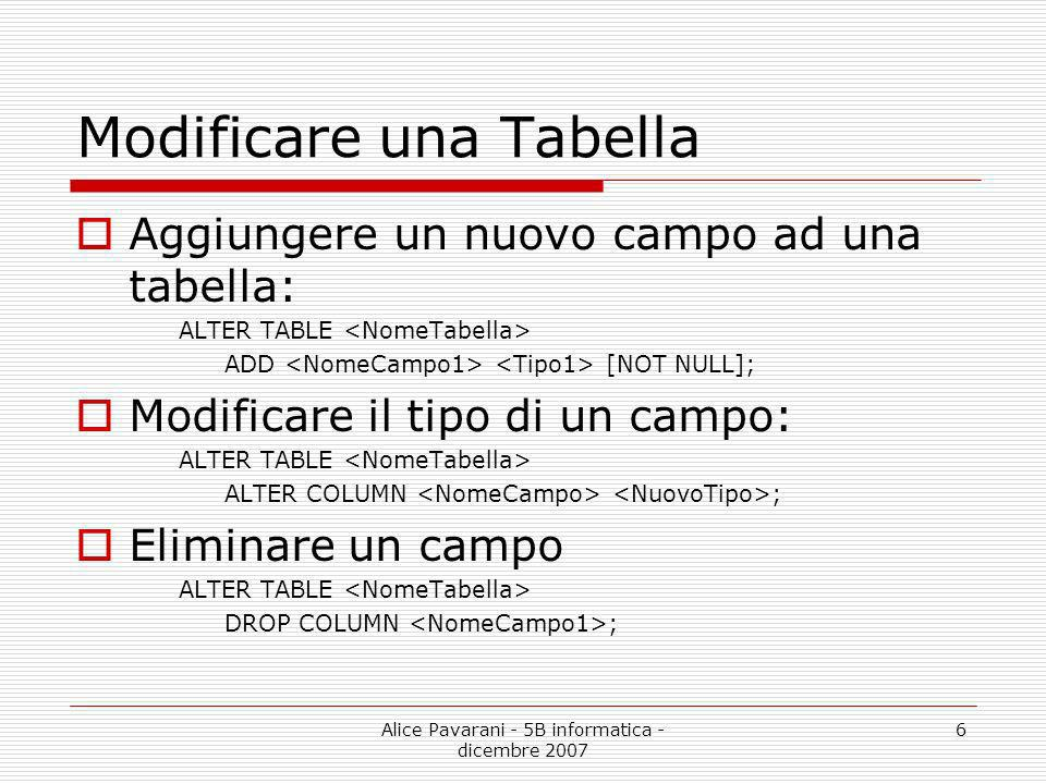 Modificare una Tabella