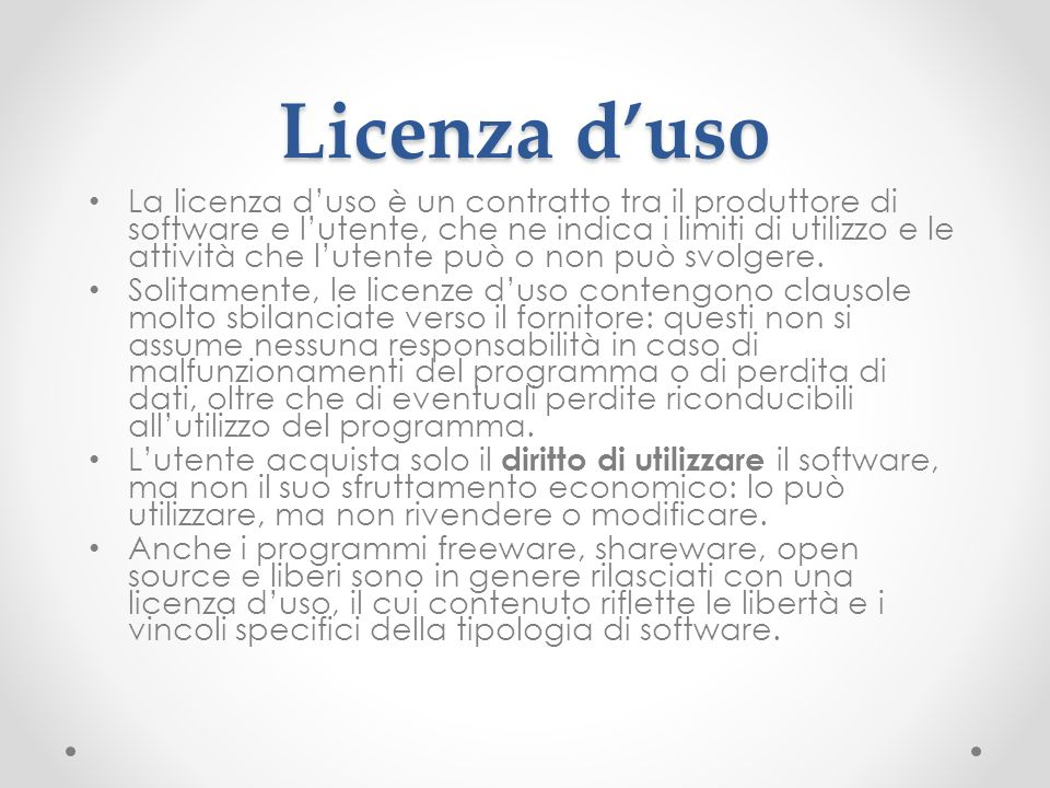 Licenza d'uso